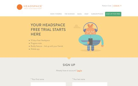 Screenshot of Signup Page headspace.com - Headspace - captured Feb. 3, 2016