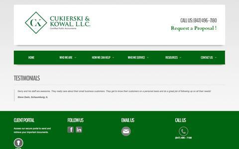 Screenshot of Testimonials Page ckwcpa.com - Testimonials - captured Nov. 12, 2016