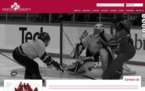 Screenshot of Contact Page ringette.ca - Contact Us - Ringette Canada - captured Feb. 15, 2016