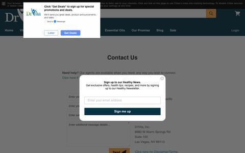 Screenshot of Contact Page drvita.com - Contact Us — DrVita - captured Oct. 9, 2018