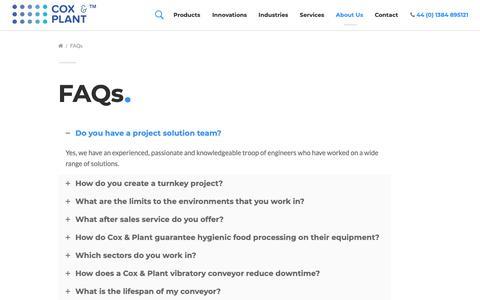 Screenshot of FAQ Page coxandplant.com - FAQs - Cox & Plant - captured Sept. 29, 2018