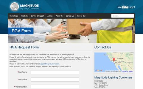 Screenshot of Trial Page magnitudeinc.com - RGA Form - Magnitude Lighting Converters - captured Nov. 9, 2016