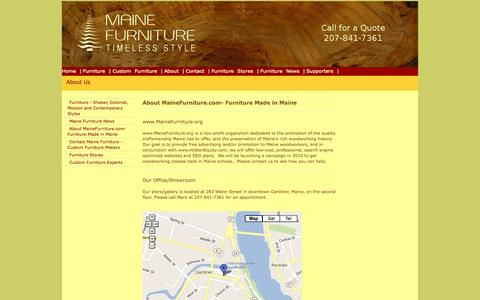 Screenshot of About Page Maps & Directions Page mainefurniture.org - About MaineFurniture.com- Furniture Made in Maine - captured Oct. 26, 2014