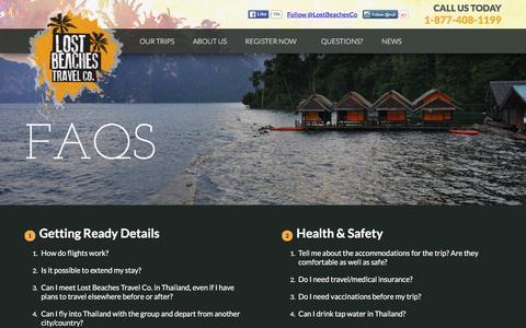 Screenshot of FAQ Page lostbeachestravel.com - FAQs - Lost Beaches Travel Co | - captured Jan. 31, 2016