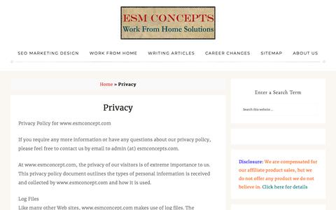 Screenshot of Privacy Page esmconcepts.com - Privacy Policy for www.esmconcept.com - captured July 15, 2018
