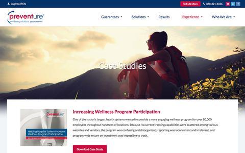 Screenshot of Case Studies Page preventure.com - Case Studies - captured March 24, 2018