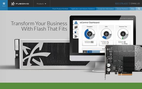 Screenshot of Products Page fusionio.com - Products :: Fusion-io - captured July 21, 2014