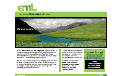 Screenshot of Home Page eatonmanagement.com - Environment Business Development. Our experience covers waste collection and disposal, organic waste treatment, business mentoring and new company starts. Terence brownhill,  EML,  Eaton Management Ltd, organic waste, organic waste management, Waste  - captured Oct. 1, 2014
