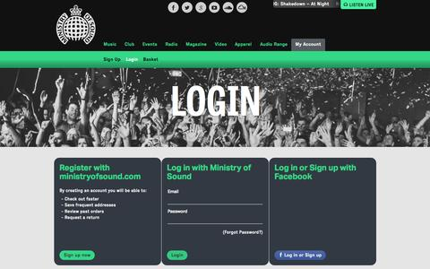 Screenshot of Login Page ministryofsound.com - My Account | Login - captured Oct. 15, 2015