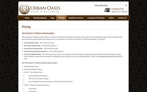 Screenshot of Pricing Page urbanoasisyoga.com - Yoga Membership Packages | Urban Oasis Yoga & Wellness - Sammamish, Issaquah, WA - captured Oct. 26, 2014