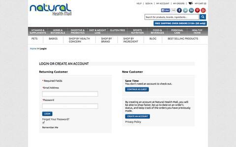 Screenshot of Login Page naturalhealthmall.com - Customer Login - captured Oct. 9, 2014