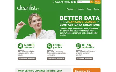 Screenshot of Home Page cleanlist.ca - Cleanlist.ca is Canada's leader in contact data solutions! - captured Sept. 29, 2014