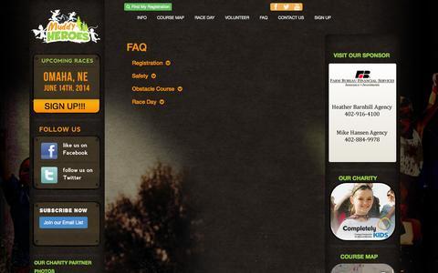 Screenshot of FAQ Page muddyheroesrun.com - Muddy Heroes Kids Obstacle Run - captured Oct. 7, 2014