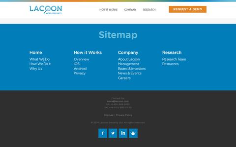 Screenshot of Site Map Page lacoon.com - Sitemap - Lacoon Mobile Security : Lacoon Mobile Security - captured July 18, 2014