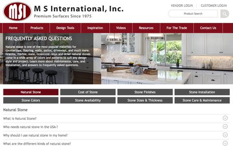 Screenshot of FAQ Page msistone.com - Natural Stone FAQ | M S International, Inc. | Premium Natural Stones - captured May 10, 2016