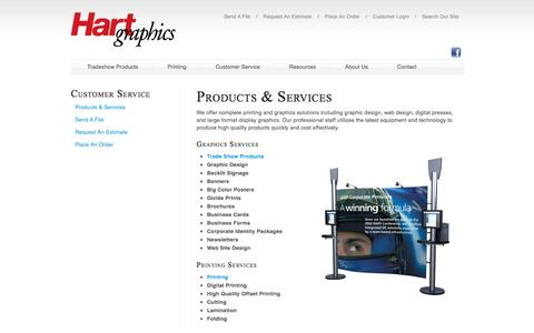 Screenshot of Support Page hartgraphics.com - Hart Graphics, Inc. : Customer Service : Products & Services - captured July 11, 2016