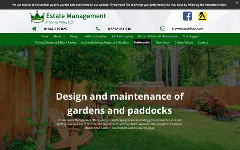 Screenshot of Testimonials Page crownestatemanagement.co.uk - We offer grounds maintenance services in Maidenhead - captured July 23, 2018