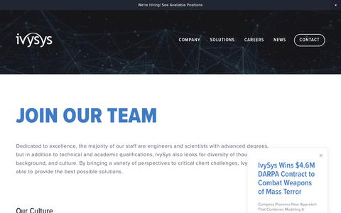 Screenshot of Jobs Page ivysys.com - Careers at IvySys Technologies - captured Oct. 13, 2018