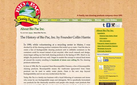 Screenshot of About Page bio-pac.com - About Bio Pac Inc. - Bio Pac Cleaning Products - captured Oct. 5, 2014