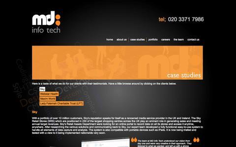 Screenshot of Case Studies Page mdinfotech.co.uk - Digital Agency - Web Design - Web Development London - MD Info Tech - captured Sept. 30, 2014