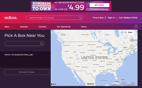 Screenshot of Locations Page redbox.com - Redbox Locations | Find DVD Locations at Redbox.com and Rent a Movie - captured Oct. 21, 2018