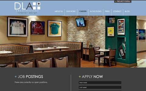 Screenshot of Jobs Page dlaplus.com - Careers   DLA+ Architecture & Interior Design - captured Feb. 20, 2016