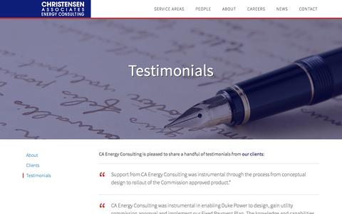 Screenshot of Testimonials Page caenergy.com - Testimonials - Christensen Associates Energy Consulting - captured Jan. 28, 2016