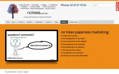 Screenshot of Support Page notrees.com.au - Support - No Trees - captured Nov. 3, 2014