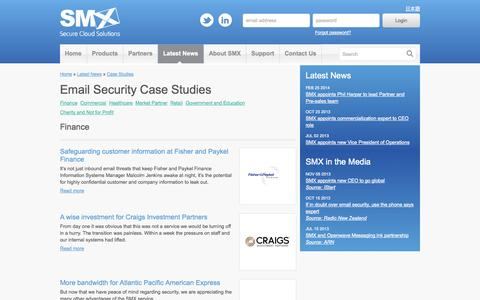 Screenshot of Case Studies Page smxemail.com - Email Security and Filtering Case Studies - SMX - captured Oct. 22, 2014