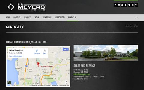 Screenshot of Contact Page bemeyers.com - Contact Us | B.E. Meyers & Co., Inc. - captured Oct. 2, 2014