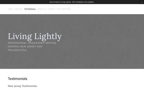 Screenshot of Testimonials Page livinglightly.us - Living Lightly/Testimonials — Living Lightly - captured Sept. 29, 2018