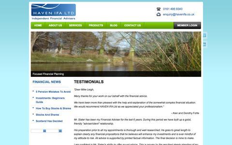 Screenshot of Testimonials Page havenifa.co.uk - Testimonials | Haven Independent Financial Advisers - captured Nov. 1, 2014