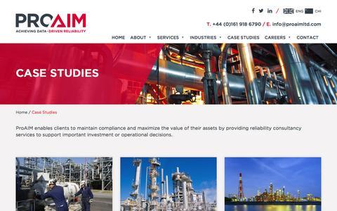 Screenshot of Case Studies Page proaimltd.com - Case Studies - ProAIM Ltd : ProAIM Ltd - captured May 22, 2017