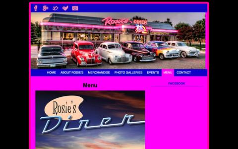 Screenshot of Menu Page rosiesdiner.com - Menu - Rosie's Diner - captured May 20, 2016