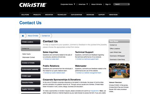 Screenshot of Contact Page christiedigital.com - Contact Us   Christie - Visual Display Solutions - captured Sept. 22, 2014