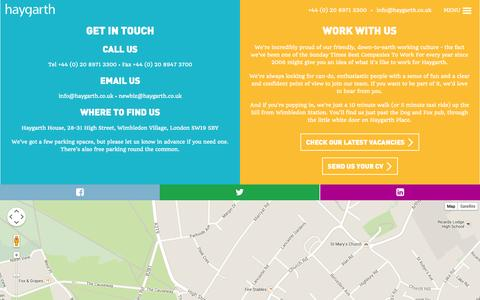 Screenshot of Contact Page haygarth.co.uk - We are Haygarth - captured Oct. 28, 2014