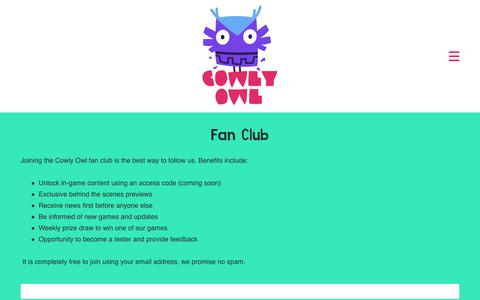 Screenshot of Signup Page cowlyowl.com - Fan Club – Cowly Owl - captured Nov. 5, 2018