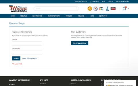 Screenshot of Login Page shredderwarehouse.com - Customer Satisfaction Team says… - captured Nov. 7, 2018