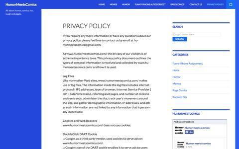 Screenshot of Privacy Page humormeetscomics.com - Privacy Policy - HumorMeetsComics - captured Oct. 31, 2014
