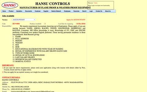 Screenshot of Jobs Page hansucontrols.com - Jobs - captured May 11, 2017