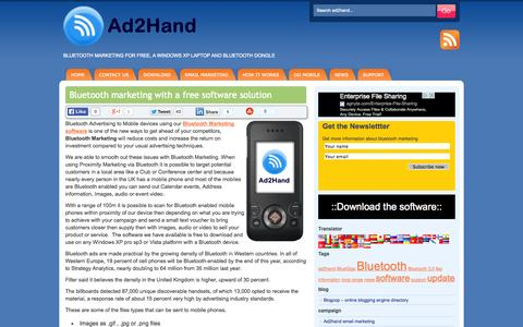 Screenshot of Home Page ad2hand.co.uk - Ad2hand Bluetooth Marketing | Bluetooth Advertising | Free - captured Oct. 7, 2014