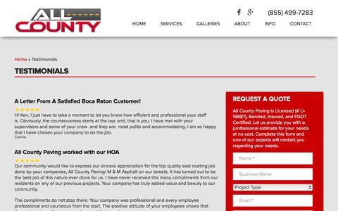 Screenshot of Testimonials Page allcountypaving.com - Testimonials - All County Paving Company- Florida's Premier Paving Contractor - captured Dec. 24, 2015