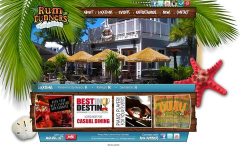 Screenshot of Home Page rumrunners.com - Home - Rum Runners - captured Sept. 25, 2014