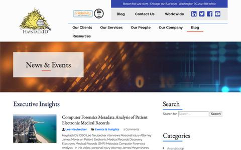 Screenshot of Blog haystackid.com - Computer Forensics and eDiscovery Experts | 		News, Events & Insights - Computer Forensics and eDiscovery Experts - captured March 12, 2018