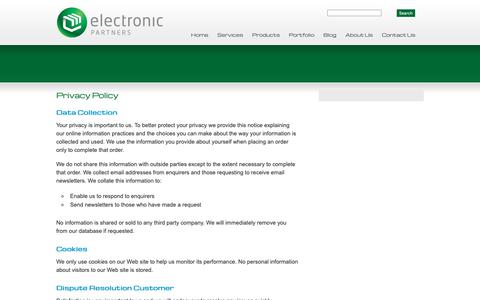 Screenshot of Privacy Page elex.co.nz - Privacy Policy | Electronic Partners - captured Sept. 27, 2018