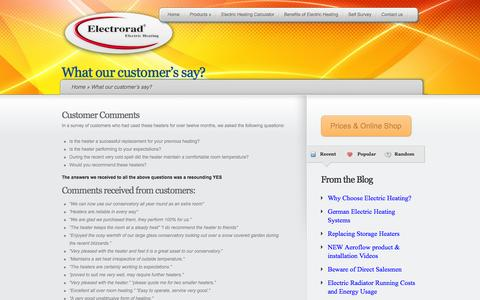 Screenshot of Testimonials Page electrorad.co.uk - What our customer's say? | Electrorad - captured Sept. 29, 2014