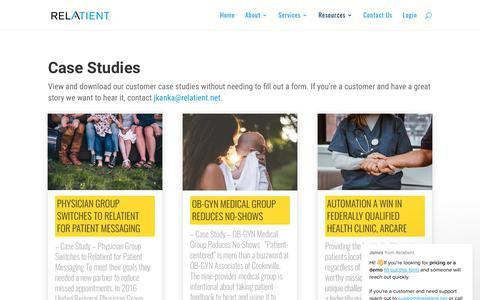 Screenshot of Case Studies Page relatient.net - Case Studies - Relatient - captured Feb. 9, 2019