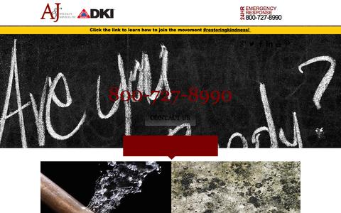 Screenshot of Home Page ajrestores.com - A&J Specialty Services | Water, Fire, Mold, Sewage Cleanup | Madison - captured Sept. 18, 2015