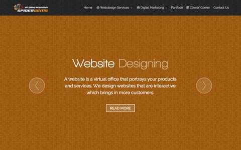 Screenshot of Home Page spidergems.com - Leading web designing company in Chennai - spidergems.com - captured Aug. 13, 2015