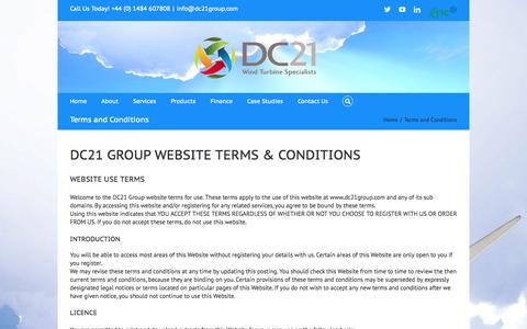 Screenshot of Terms Page dc21group.com - Terms and Conditions - DC21 Group - captured Sept. 30, 2014